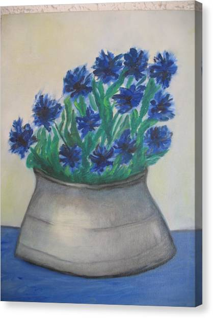 Cornflower Canvas Print by Maria  Kolucheva