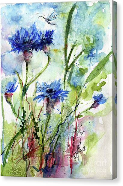 Cornflowers Korn Blumen Watercolor Painting Canvas Print