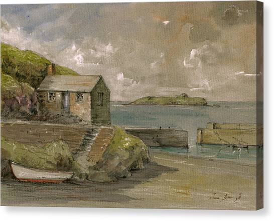 Lizard Canvas Print - Cornwall Mullion Cove Harbour Lizard -english Channel - by Juan  Bosco