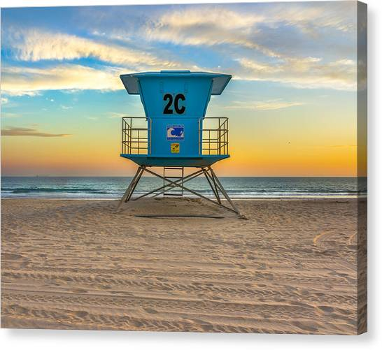 Coronado Beach Lifeguard Tower At Sunset Canvas Print