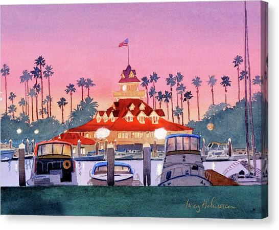 Hotels Canvas Print - Coronado Boathouse After Sunset by Mary Helmreich