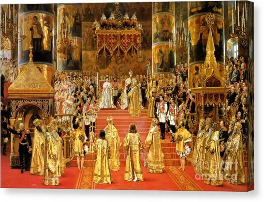 Orthodox Art Canvas Print - Coronation Of Emperor Alexander IIi by Georges Becker