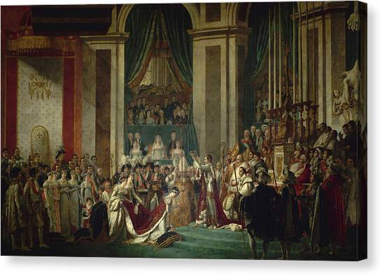 Neoclassical Art Canvas Print - Coronation Of Emperor Napoleon I And Coronation Of The Empress Josephine In Notre-dame De Paris, Dec by Jacques-Louis David