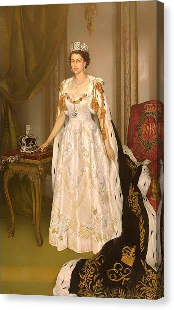 Queen Elizabeth Canvas Print - Coronation Portrait Of Queen Elizabeth II Of The United Kingdom by Mountain Dreams