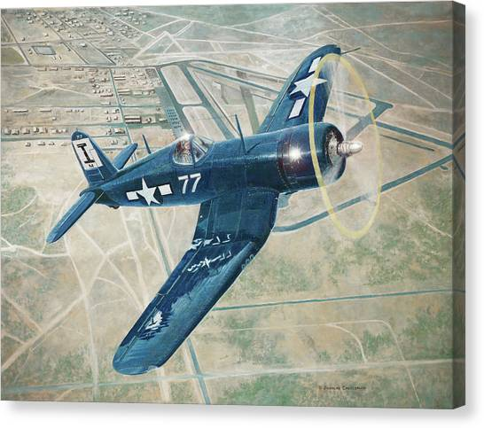 Corsair Over Mojave Canvas Print