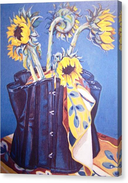 Corset And Sunflowers Canvas Print