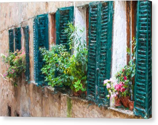 Cortona Window Flowers Canvas Print