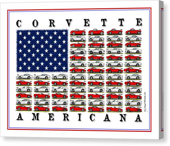 Corvette American Flag Canvas Print