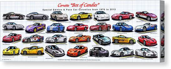 Corvette Box Of Candies - Special Edition And Indy 500 Pace Car Corvettes Canvas Print