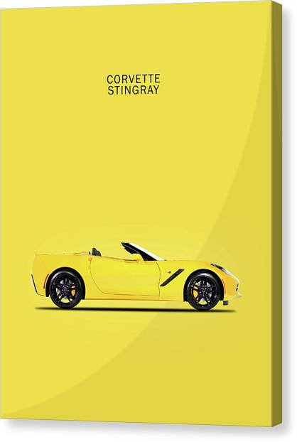 Coupe Canvas Print - Corvette In Yellow by Mark Rogan