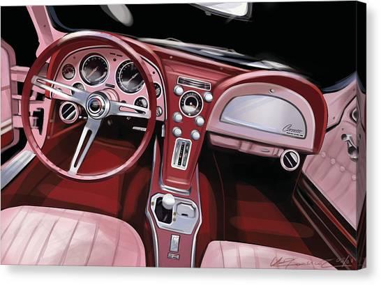 Corvette Sting Ray Interior Canvas Print by Uli Gonzalez