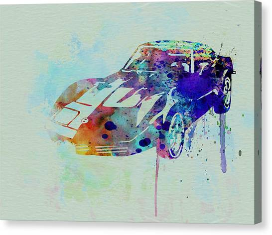 Muscles Canvas Print - Corvette Watercolor by Naxart Studio
