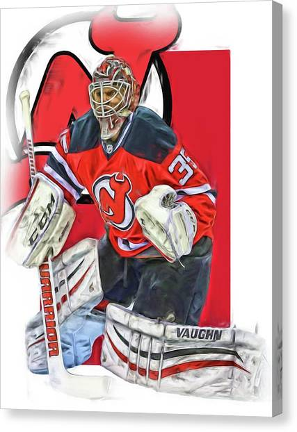 New Jersey Devils Canvas Print - Cory Schneider New Jersey Devils Oil Art by Joe Hamilton