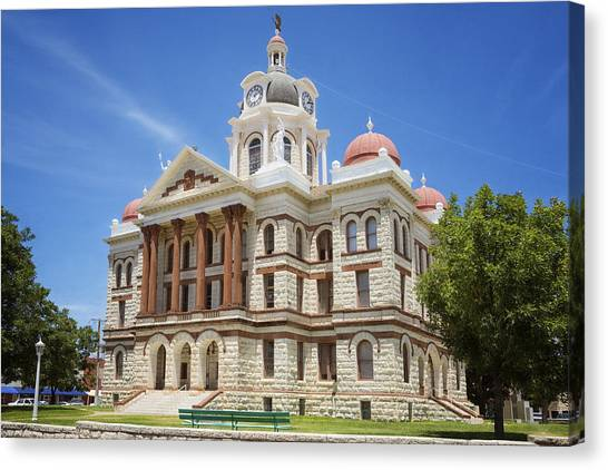 Neoclassical Art Canvas Print - Coryell County Courthouse by Joan Carroll