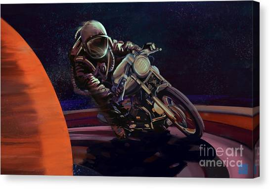Canvas Print featuring the painting Cosmic Cafe Racer by Sassan Filsoof