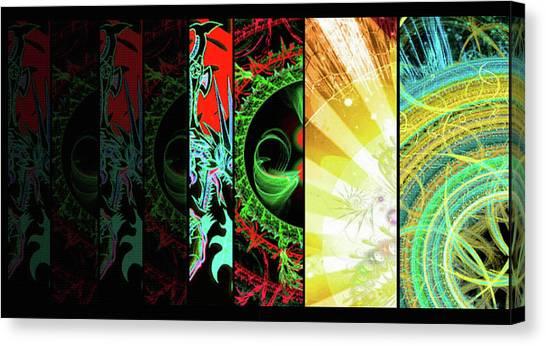 Canvas Print featuring the mixed media Cosmic Collage Mosaic Right Side Flipped by Shawn Dall