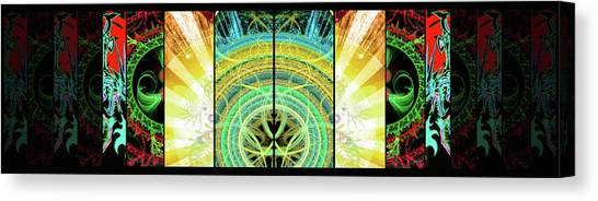 Canvas Print featuring the mixed media Cosmic Collage Mosaic Right Side Mirrored by Shawn Dall