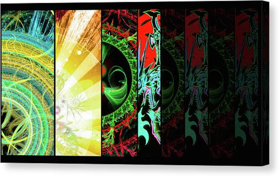 Canvas Print featuring the mixed media Cosmic Collage Mosaic Right Side by Shawn Dall