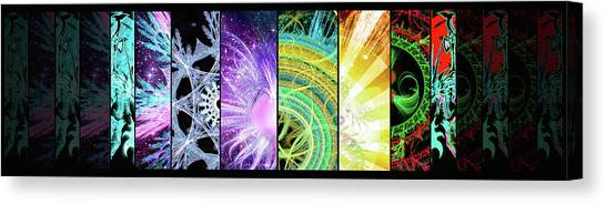 Canvas Print featuring the mixed media Cosmic Collage Mosaic by Shawn Dall