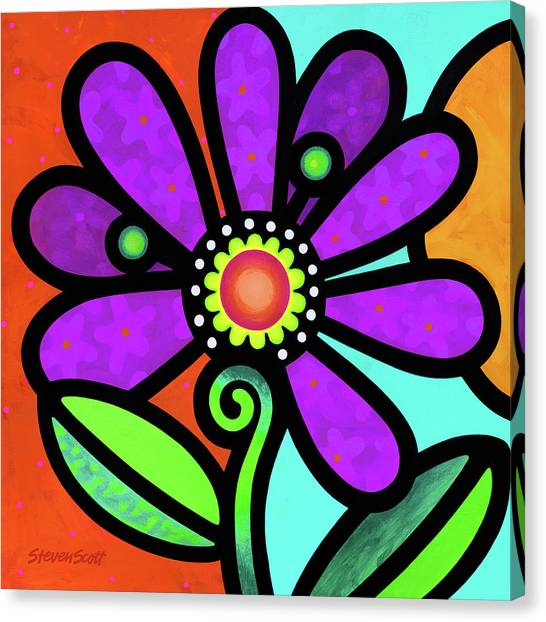 Cosmic Daisy In Purple Canvas Print