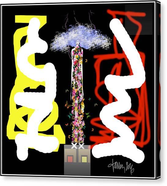 Cosmic Geisha - Angry Mountain Messenger Canvas Print