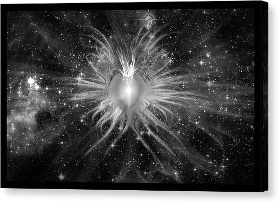 Cosmic Heart Of The Universe Bw Canvas Print