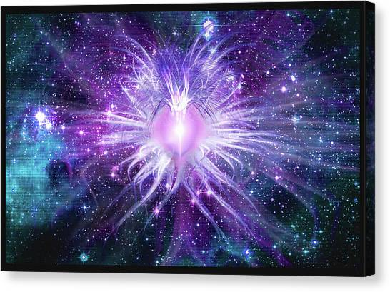 Canvas Print featuring the mixed media Cosmic Heart Of The Universe Mosaic by Shawn Dall