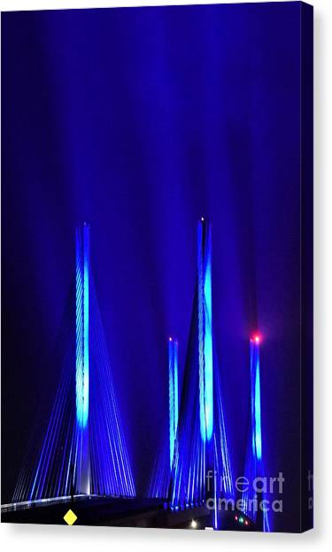 Blue Light Rays - Indian River Inlet Bridge Canvas Print