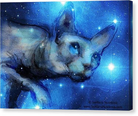 Watercolor Canvas Print - Cosmic Sphynx Painting By Svetlana by Svetlana Novikova
