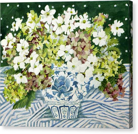 Cosmos Flower Canvas Print - Cosmos And Hydrangeas In A Chinese Vase by Jennifer Abbot