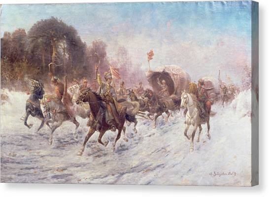 War Horse Canvas Print - Cossacks In A Winter Landscape   by Anton Baumgartner Stoiloff