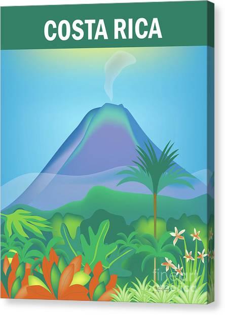 Arenal Volcano Canvas Print - Costa Rica Vertical Scene by Karen Young
