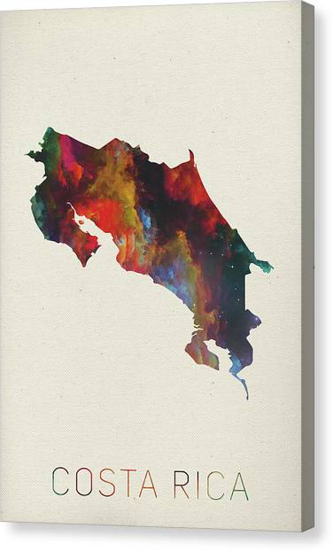 Costa Rican Canvas Print - Costa Rica Watercolor Map by Design Turnpike