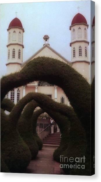 Costra Rica Garden Church Canvas Print