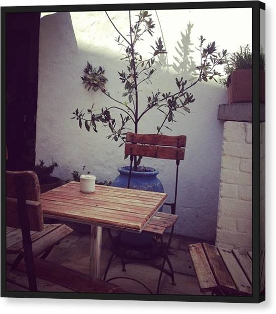 Tea Pot Canvas Print - Cosy Courtyard. Cappuccino And Cake by Jacci Freimond Rudling