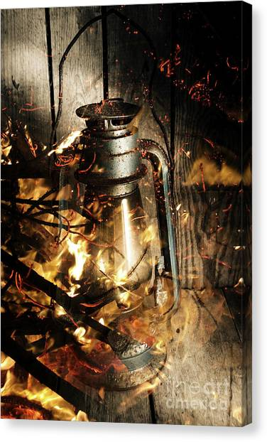 Flames Canvas Print - Cosy Open Fire. Cottage Artwork by Jorgo Photography - Wall Art Gallery