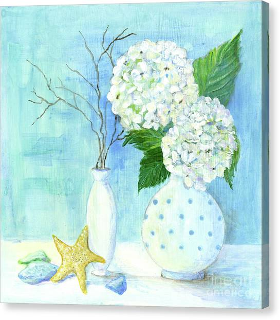 Seagrass Canvas Print - Cottage At The Shore 2 White Hydrangea Bouquet W Sea Glass And Starfish by Audrey Jeanne Roberts