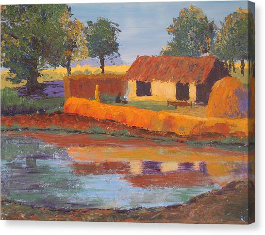 Cottage By The Pond Canvas Print by Art Nomad Sandra  Hansen