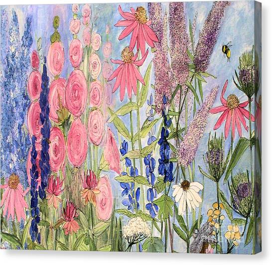 Cottage Flowers With Dragonfly Canvas Print