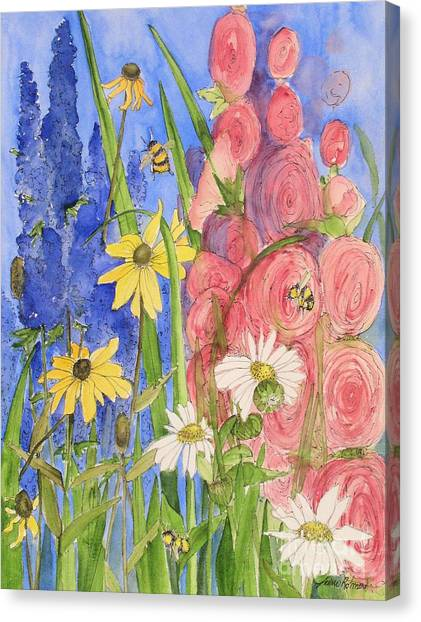Cottage Garden Daisies And Blue Skies Canvas Print