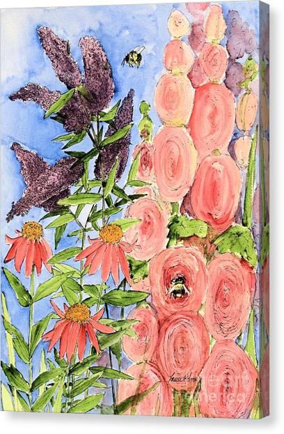 Cottage Garden Hollyhock Bees Blue Skie Canvas Print