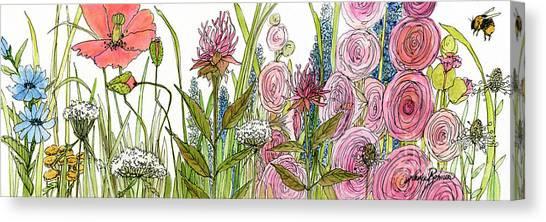 Cottage Hollyhock Garden Canvas Print