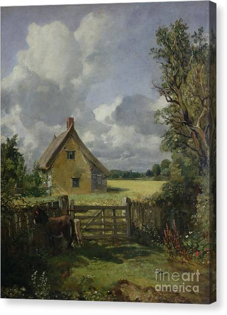 Corn Field Canvas Print - Cottage In A Cornfield by John Constable