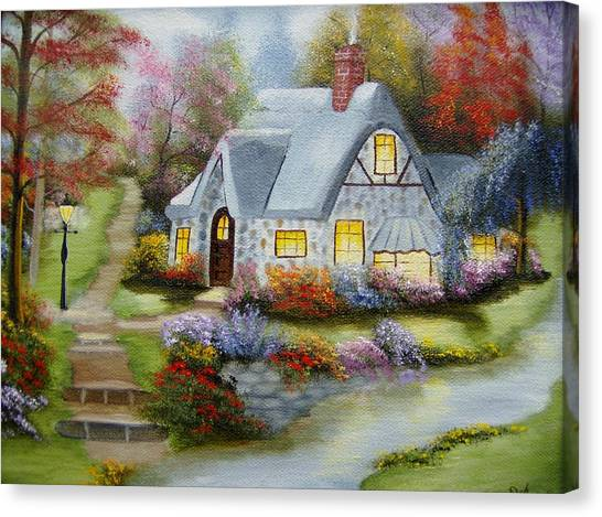 Cottage In Fall Canvas Print