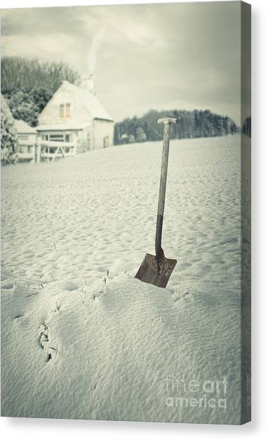 Shovels Canvas Print - Cottage In Winter  by Amanda Elwell