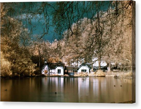 Cottage On The Lake Canvas Print