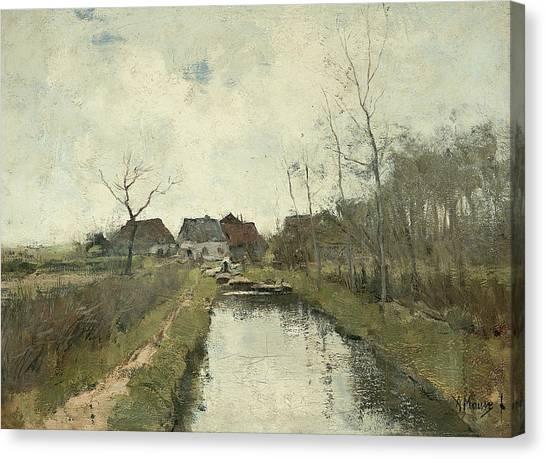 Ditch Canvas Print - Cottage To A Ditch by Anton Mauve