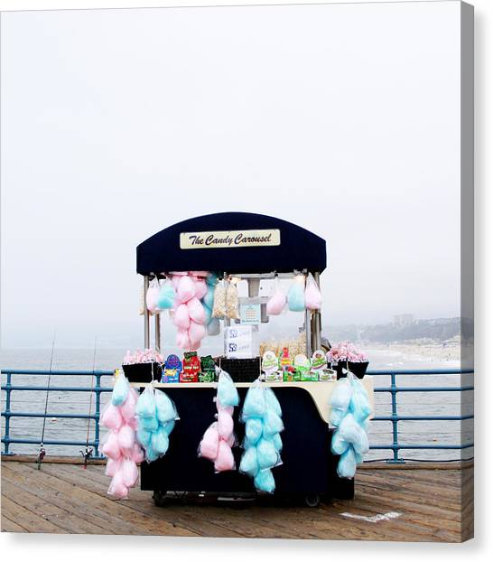 Santa Monica Canvas Print - Cotton Candy Carousel- By Linda Woods by Linda Woods
