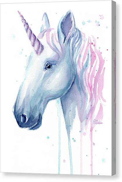 Candy Canvas Print - Cotton Candy Unicorn by Olga Shvartsur