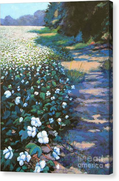 Canvas Print featuring the painting Cotton Field by Jeanette Jarmon